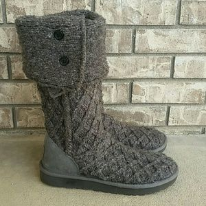 07358f83b3b UGG Lattice Cardy boot charcoal wool knit boots